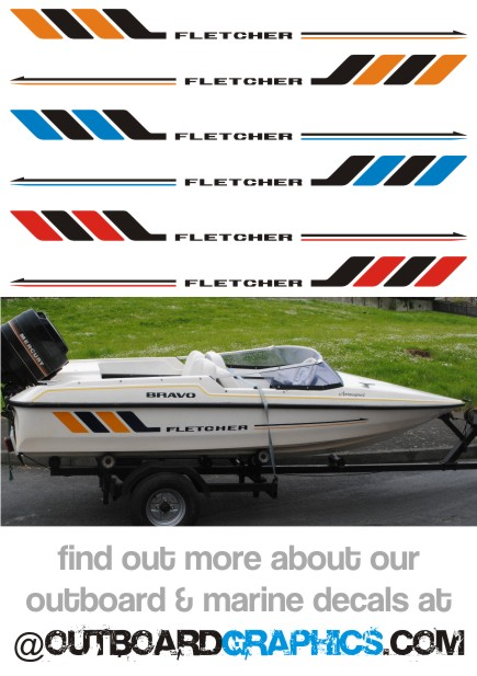 Pair Of Fletcher Speedboat Hull Decals Custom Colours Available - Hull decals