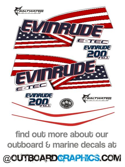 Evinrude 250hp ETEC E-TEC HO outboard engine decals//sticker kit